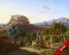 MASSA E CARRARA ITALY CASTLE ITALIAN LANDSCAPE PAINTING ART REAL CANVAS PRINT