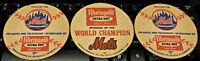 MLB  NEW YORK METS  COASTERS  1969 WORLD CHAMPIONS  (3 COASTERS) BASEBALL / NOS
