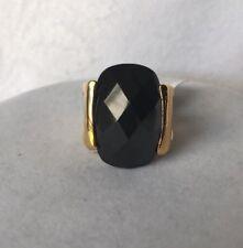 Lia Sophia Noir Ring Size 5 Black Stone Gold Tone 671 Statement Piece NWT