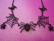 Red Crystal Spider Web Necklace