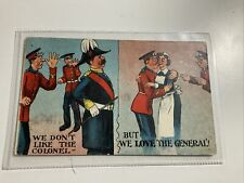 """More details for early military comic postcard """"we dont like the colonel but love the general"""""""