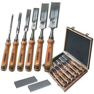 Stemmeisen Stechbeitel Set für Holz | 6 Beitel + 2 Abziehsteine + Koffer