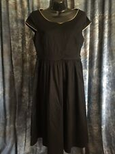 Lindy Bop Sz M Pinup Stretchy Dress Audrey Black Brown Satin Trim Rockabilly