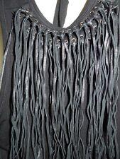 NWT Essendi Black Tie Halter Top w Faux Leather Fringe Neckline Size 3 (large)