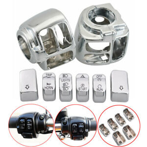 Chrome Switch Housing Cover + 6PC Switch For Harley Sportster V-Rod Softail Dyna