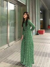 ZARA NEW GREEN LONG PRINTED DRESS Size XS Ref. 0034/241