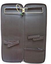 Vintage Mens Necktie Travel Case - Hanging Tie Holder Brown Zip Tie Storage Case