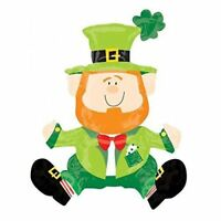 ST PATRICK'S DAY SITTING LEPRECHAUN SHAPE FOIL AIR FILL MULTI BALLOON PARTY