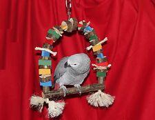 Papageienspielzeug Freisitz SCHAUKEL Naturholz SISAL für Papageien, Sittiche NEU