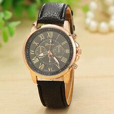 Geneva Women Girl Roman Numerals Leather Quartz Wrist Watch Cuff Bracelet Black
