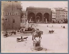 Brogi. Italie, Firenze, Piazza della Signoria colla Loggia de Lanzi Vintage albu