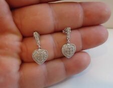 MICRO PAVE HEART INLAY DANGLING EARRINGS W/1 CT LAB DIAMONDS 925 STERLING SILVER