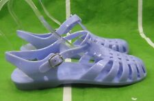 new ladies Womens blue Summer Beach Retro Flat Jellies Jelly Sexy Sandal Size 7