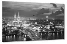 Leinwand Bild Köln Hohenzollernbrücke Kölner Dom Panorama Rhein Schwarzweiß Turm