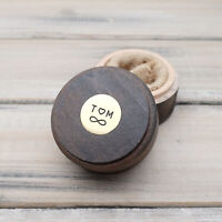 Personalized Round Wedding Ring Box, Custom Ring Bearer Box Ring Holder Box