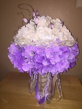 Bridal Bouquet of White and Lavender Flowers with Burlap handle, Trim and Ribbon
