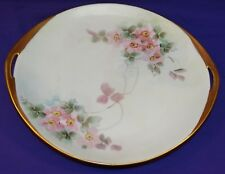 HAND PAINTED CHINA PLATE W/ PINK OLD FASHION ROSES GOLD GILT TRIM CZECHOSLOVAKIA