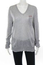 Dsquared2 Gray Cotton Pull Over Long Sleeve V Neck Blouse Size Large