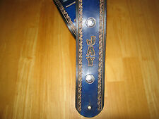 CUSTOM MADE HAND TOOLED LEATHER GUITAR STRAP BLUE & BLACK 3' WIDE NAME & CONCHOS