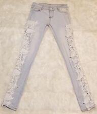 Women's Side Lace Slim Skinny Stretch Denim Jeans ▪Size Small