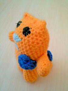 """HAND MADE Amigurumi Cat Crochet Toy Yellow 5.2"""""""