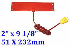 """2"""" X 9 1/8"""" 51 X 232mm 100W w/ Plug 4 Eyelets in Short Side Silicone Heater"""