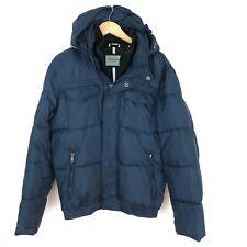 Cole Haan Signature Men's Sz S Navy Blue Puffer Coat Removable Hood