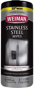 NEW 30 Weinman Stainless Steel Wipes 7 x 8 POP UP CLEANING CLOTHS TOWEL CANISTER