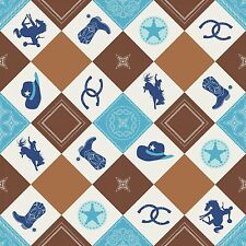 Fabric Western Cowboy Things Argyle Blue Brown on White Cotton by the 1/4 yard