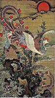 Rising Sun and Phoenix. by Japanese Artist Ito Jakuchu. Oriental Repro on Canvas