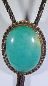 Large Sterling Silver 925 Green 1.5 Inch Turquoise  Bolo Tie Southwest 476-D