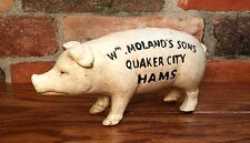 Wm. Moland's Sons Quaker City Hams Vintage Pig Cast Iron Coin Bank