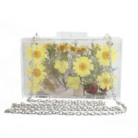 Clear Acrylic Bag Women Handbags luxury Shoulder Bag Flower Clutches Evening Bag