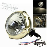 "Solid Brass & Black 5.5"" Headlight Headlamp For Harley Chopper Bobber Cafe Racer"