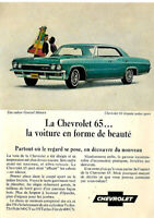 1965 CHEVROLET IMPALA SPORT SEDAN BLUE AUTOMOBILE ORIGINAL AD IN FRENCH