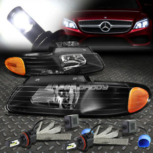 BLACK HOUSING HEADLIGHT+AMBER CORNER+6000K WHITE LED SYSTEM FOR 96-99 CARAVAN