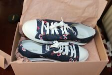 New Miu Miu Denim Floral Blue White Logo Sneakers Size 37.5 $550