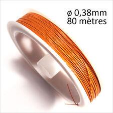 Fil Câblé Acier Gainé de Nylon 0,38mm – 80m Orange pour création DE bijoux