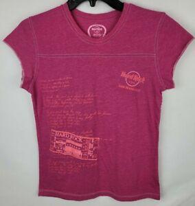 Hard Rock Cafe Girls Size Large Pink San Francisco Cap Sleeve Graphic T Shirt