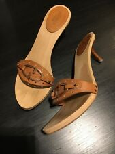 Gucci Wooden Clogs Sandals Slides Kitten Heel, Tan w Rose Gold, 36.5