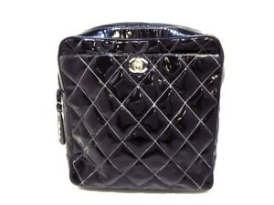 Auth CHANEL Matelasse Black Patent Leather Backpack