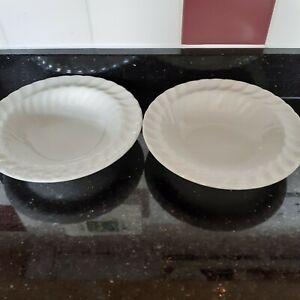 2 x Johnson Bros White Regency Swirl Rimmed Bowls approx 16 cm diameter