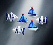 Deko FISCHE SCHIFFE Boote Segelboote Dekoration maritim Nordsee Ostsee blau weiß