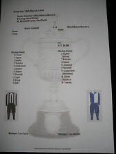 1893-94 F A Cup Semi Final Notts County v Blackburn Rovers Matchsheet