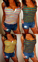 SEXY LOW CUT CROP CAMI STRETCH BOHO RIBBED STRIPED HENLEY TANK TOP BABY T-SHIRT