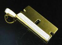 0.30 Ct Round Cut Diamond Razor Blade Pendant Charm 14K Yellow Gold Finish