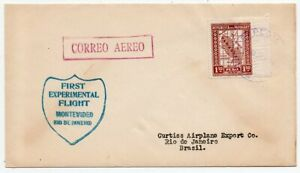 1928 PARAGUAY TO BRAZIL FIRST FLIGHT COVER, CURTISS AIRPLANE, SCARCE !