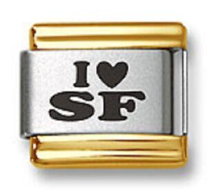 Italian Charm Bracelet Links Laser I Heart SF Gold Trim 9mm Stainless Steel