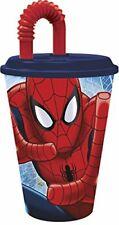 Grand Verre Spiderman paille 12 x 8.5 cm Bleu Disney