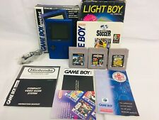 Nintendo GameBoy Pocket (Blue) Boxed + 4 Rare Games & Light Boy + Extras MINT